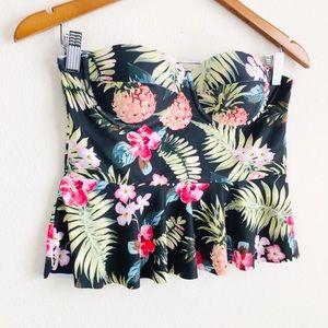 Cupshe tropical print ruffled bikini top - Medium
